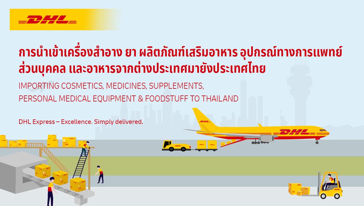 การนำเข้า เครื่องสำอาง ยา ผลิตภัณฑ์เสริมอาหาร อุปกรณ์การแพทย์ส่วนบุคคลและอาหารเข้ามาในประเทศไทย